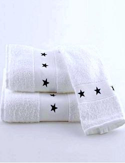 Navy Stars Embroidered Cotton Quick-Dry 3-Pc. Towel Set - Nautical Luxuries