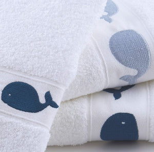 Baby Whales Embroidered Quick-Dry Towel Set - Nautical Luxuries