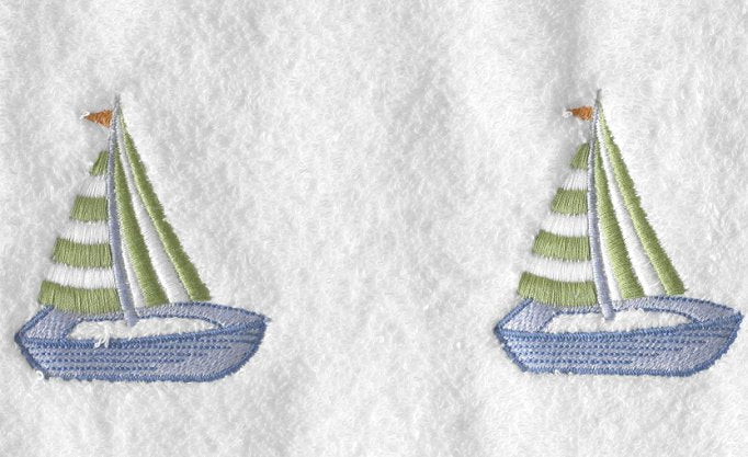 Summer Sailboat Embroidered Quick-Dry Towel Set