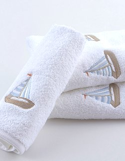 Summer Sailboat Embroidered Quick-Dry Towel Set - Nautical Luxuries