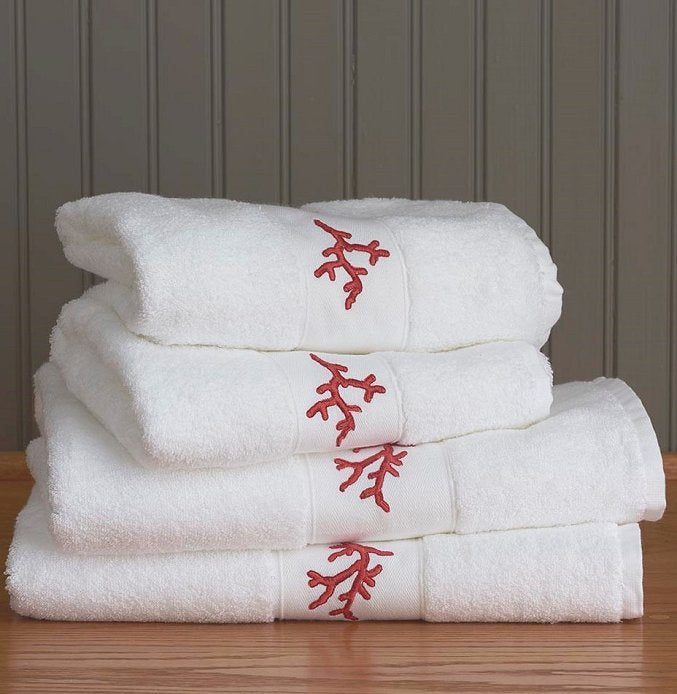 Red Coral Embroidered Quick-Dry Towel Set