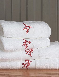 Red Coral Embroidered Quick-Dry Towel Set - Nautical Luxuries