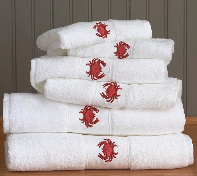 Red Crab Embroidered Quick-Dry Towel Set