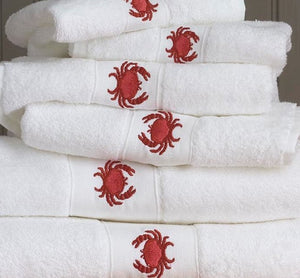 Red Crab Embroidered Quick-Dry Towel Set - Nautical Luxuries