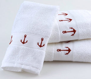 Classic Anchors Embroidered Quick-Dry Towel Sets - Nautical Luxuries