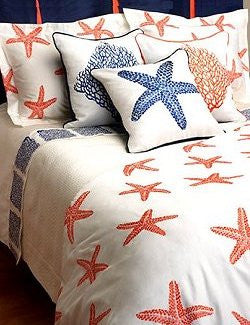 Summer Reef Embroidered Luxury Bedding Collection - Nautical Luxuries