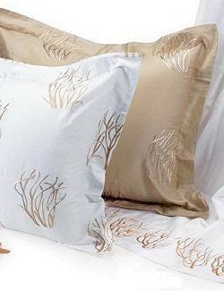 Embroidered Coral Cotton Sateen Bed Linens Close-Outs! - Nautical Luxuries