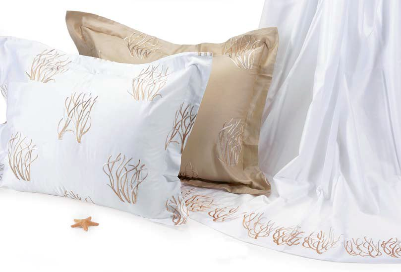 Embroidered Coral Branches Luxury Bedding Collection
