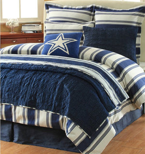 Hatteras Stripe Denim Blue Rustic Bedding Collection