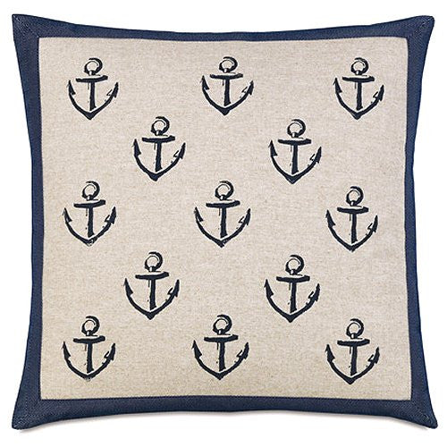 Bosun's Nautical Collection Framed Anchors Pillow - Nautical Luxuries