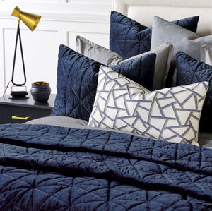 Urban Indigo Quilted Velvet Bedding Collection - Nautical Luxuries