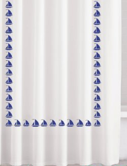 Regatta Sailboat Trimmed Cotton Shower Curtain