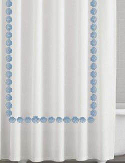 Scallop Shell Trimmed Cotton Shower Curtain