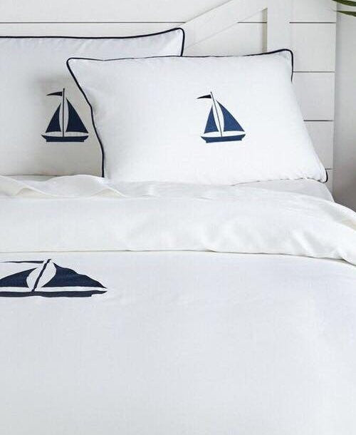 Luxe Nautique Bedding: Embroidered Sailboat Bedding