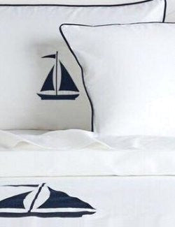 Luxe Nautique Bedding: Embroidered Sailboat Bedding - Nautical Luxuries