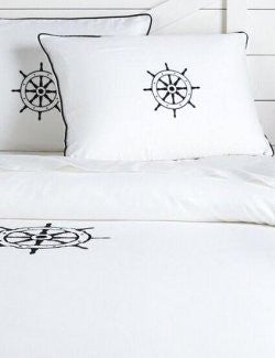 Luxe Nautique Bedding: Embroidered Ship's Wheel Bedding