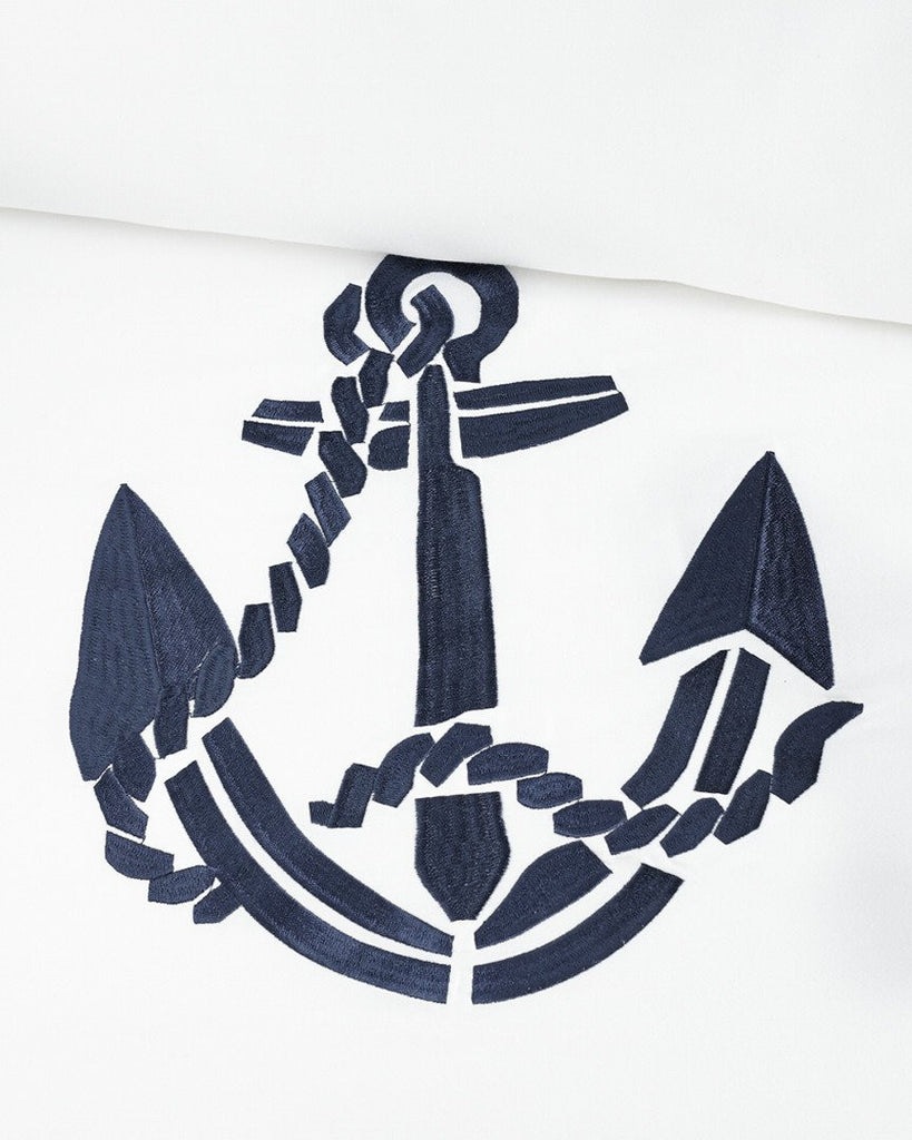 Luxe Nautique Embroidered Anchor Bedding
