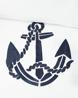 Luxe Nautique Embroidered Anchor Bedding - Nautical Luxuries