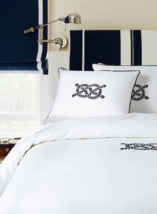 Luxe Nautique: Embroidered Nautical Knot Bedding