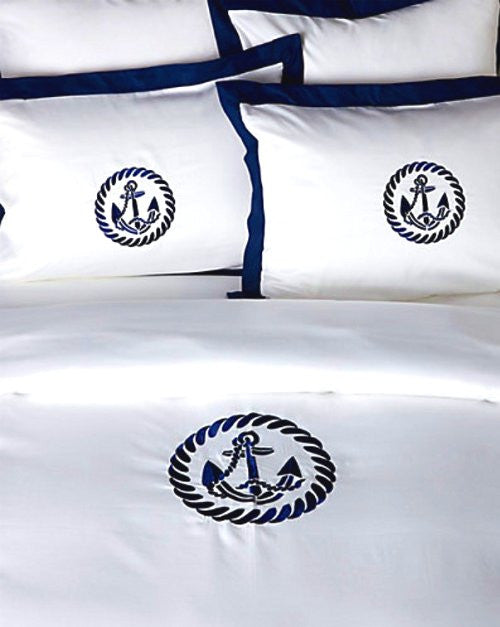 Luxe Nautique Bedding: Embroidered Circle Anchor Bedding