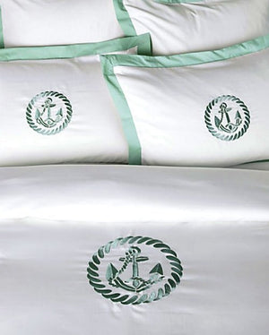 Luxe Nautique Bedding: Embroidered Circle Anchor Bedding - Nautical Luxuries
