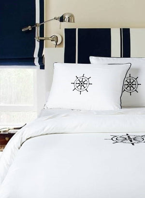 Luxe Nautique Bedding: Embroidered Ship's Wheel Bedding - Nautical Luxuries