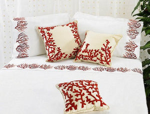 Embroidered Coral Branches Luxury Bedding Collection - Nautical Luxuries