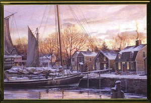 Christmas Dawn At Old Mystic Seaport Boxed Holiday Cards - Nautical Luxuries