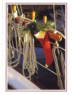 Stocking In the Rigging Boxed Holiday Cards - Nautical Luxuries