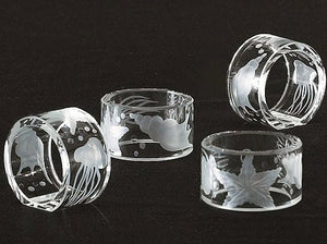 Bohemian Crystal Hand-Engraved Napkin Rings - Nautical Luxuries