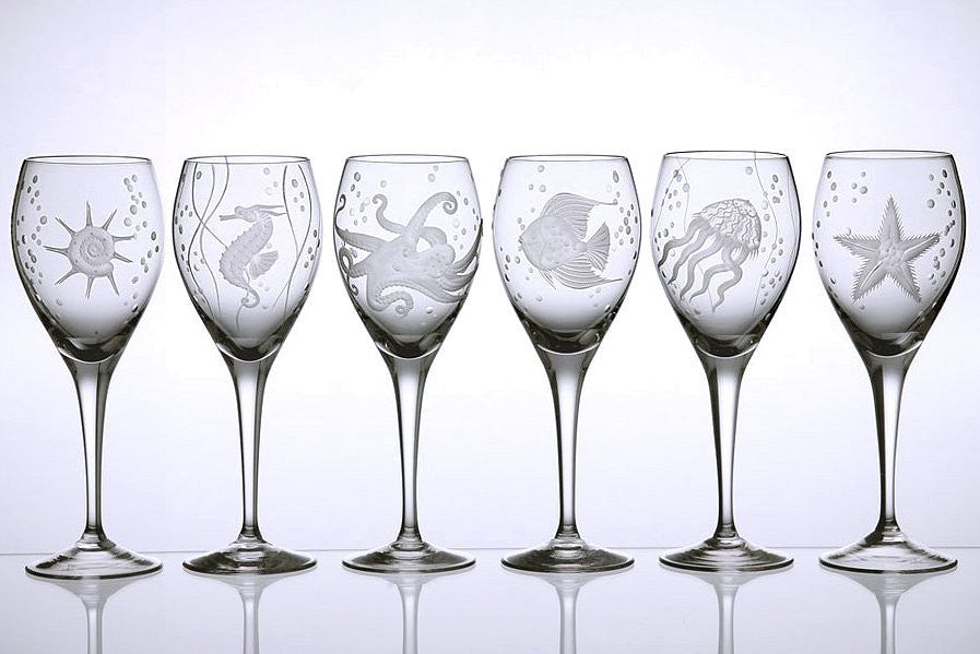 Sea Life Bohemian Crystal 6-Pc. Wine Goblet Set