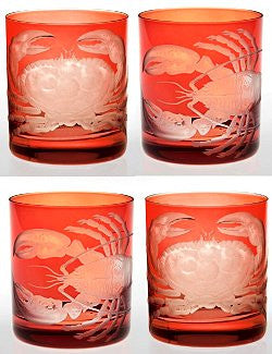 Crab & Lobster Bohemian Crystal Barware - Nautical Luxuries