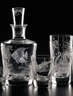 Fruti di Mare Bohemian Hand-Engraved Crystal Collection - Nautical Luxuries