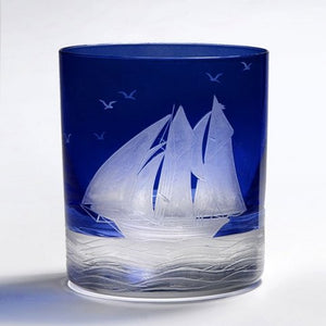 Golden Age of Yachting Hand-Engraved Bohemian Crystal - Nautical Luxuries