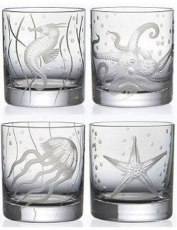 Sea Life Bohemian Crystal 6-Pc. DOF/Rocks Glass Sets - Nautical Luxuries