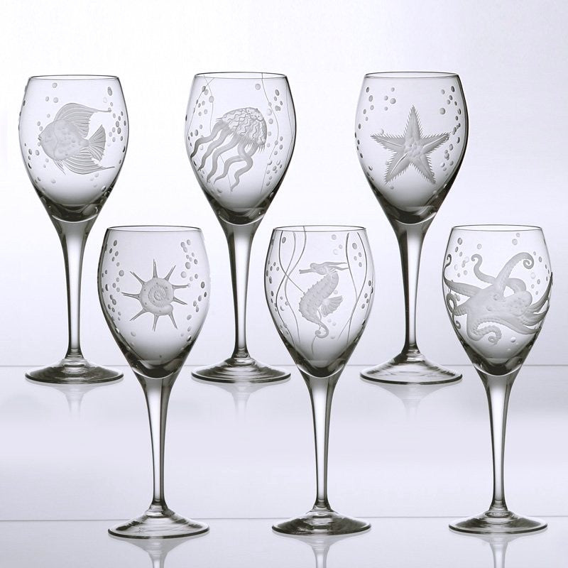 Sea Life Bohemian Crystal 6-Pc. Wine Goblet Set - Nautical Luxuries