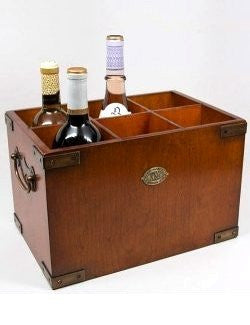Brass Trim Wood Wine Box - Nautical Luxuries