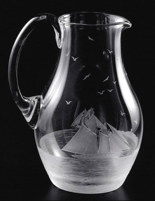 Golden Age of Yachting Hand-Engraved Bohemian Crystal