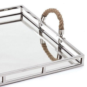 Nautical Rope Handled Mirror Bar Tray - Nautical Luxuries