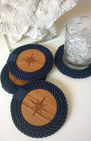 Italian Design Coiled Rope Teak Coaster Set - Nautical Luxuries