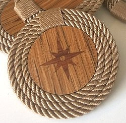 Italian Design Coiled Rope Teak Coaster Set