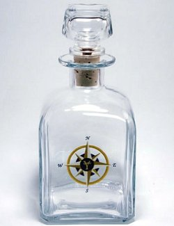 Kiln Fired Glass Compass Rose Barware Collection