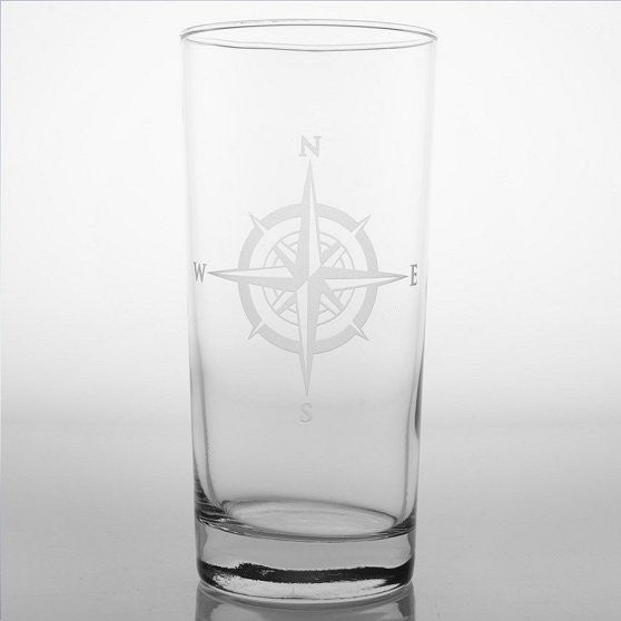 Compass Rose Etched Barware Collection