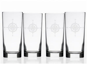 Compass Rose Etched Barware Collection - Nautical Luxuries