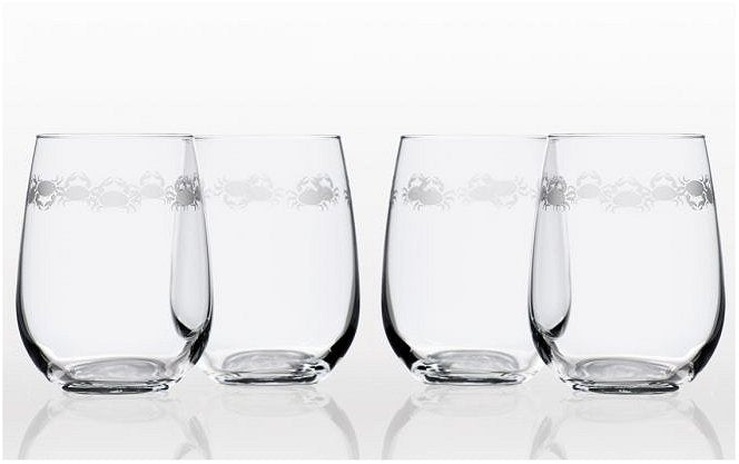 Scurrying Crabs Etched Glass Barware Collection