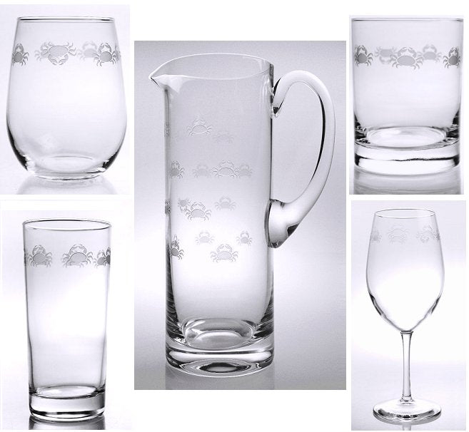 Scurrying Crabs Etched Glass Barware Collection - Nautical Luxuries