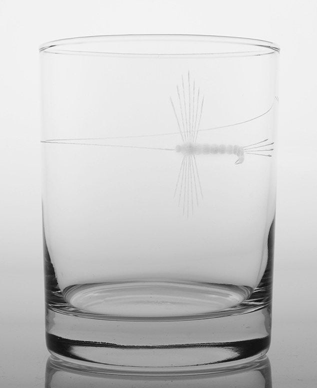Angler's Etched Glass Barware