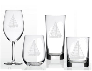 Sailboat Etched Barware Collection - Nautical Luxuries