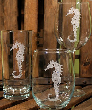 Stately Seahorse Etched Glass Barware - Nautical Luxuries