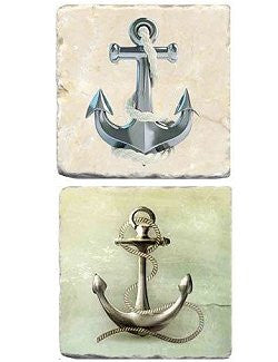 Botticino Marble Coastal/Nautical Coaster Sets